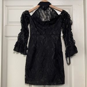PRETTY LITTLE THINGS Black Lace Ruffle Dress S NEW